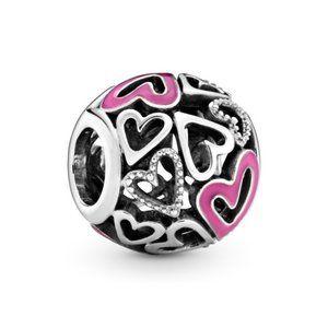 Pandora Pink Openwork Freehand Heart Charm